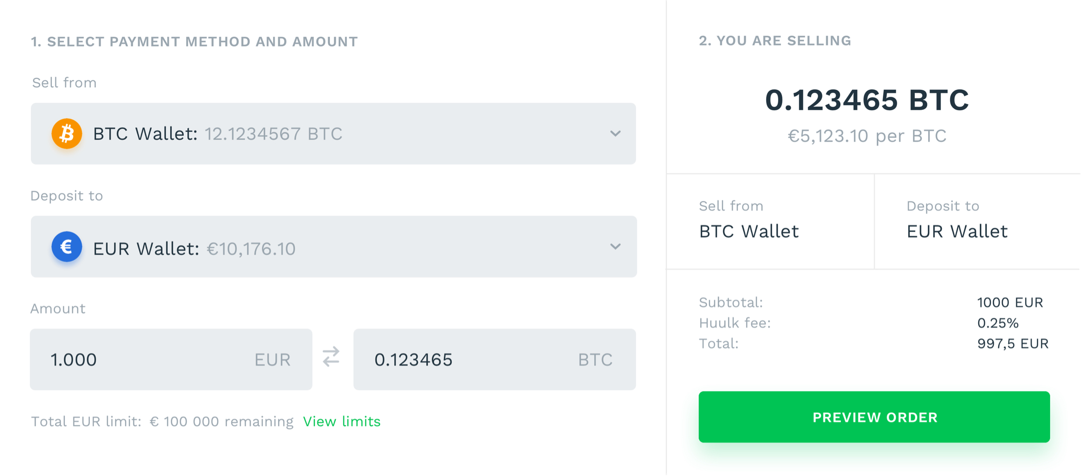 Huulk buy, sell and withdrawal screens